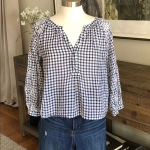 Anthropologie gingham top w laser cut embroidery